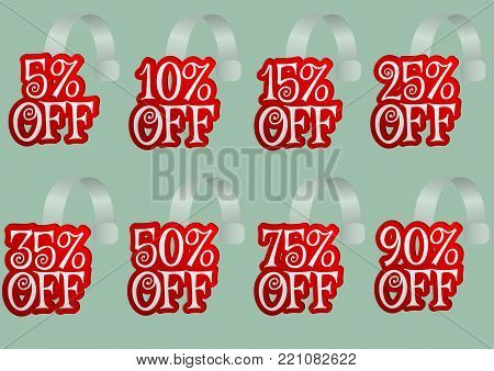 If you offer special discounts on your products or services use this set of red wobblers with different percents, add your info or change the colors of this vector file