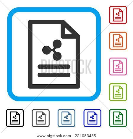Ripple Invoice icon. Flat grey pictogram symbol inside a blue rounded squared frame. Black, gray, green, blue, red, orange color versions of Ripple Invoice vector. Designed for web and application UI.