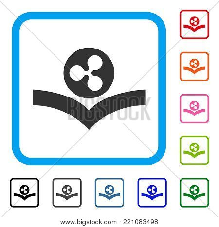 Ripple Knowledge Book icon. Flat grey iconic symbol in a blue rounded square. Black, gray, green, blue, red, orange color versions of Ripple Knowledge Book vector. Designed for web and app interfaces.