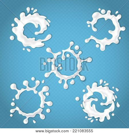 Vector set of realistic milk or yogurt splashes with drops, abstract white blots of dairy products isolated on blue transparent background. Blank milky labels for your product design