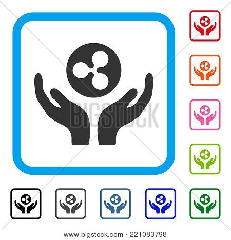 Ripple Maintenance Hands icon. Flat gray iconic symbol in a blue rounded frame. Black, gray, green, blue, red, orange color variants of Ripple Maintenance Hands vector.