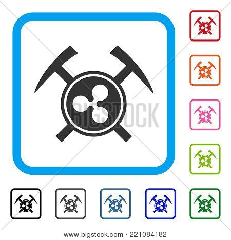 Ripple Mining Hammers icon. Flat gray pictogram symbol in a blue rounded squared frame. Black, gray, green, blue, red, orange color variants of Ripple Mining Hammers vector.