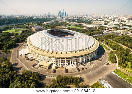 Moscow - August 19, 2017: Aerial view of Moscow with the Luzhniki Stadium, Russia. Luzhniki Stadium has been selected for the 2018 FIFA World Cup.
