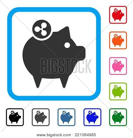 Ripple Piggy Bank icon. Flat gray iconic symbol inside a blue rounded frame. Black, gray, green, blue, red, orange color versions of Ripple Piggy Bank vector.