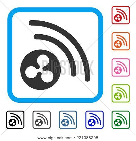 Ripple Radio Signal icon. Flat gray pictogram symbol inside a blue rounded frame. Black, gray, green, blue, red, orange color variants of Ripple Radio Signal vector.