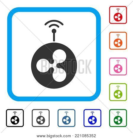 Ripple Radio Transmitter icon. Flat gray pictogram symbol in a blue rounded square. Black, gray, green, blue, red, orange color versions of Ripple Radio Transmitter vector.
