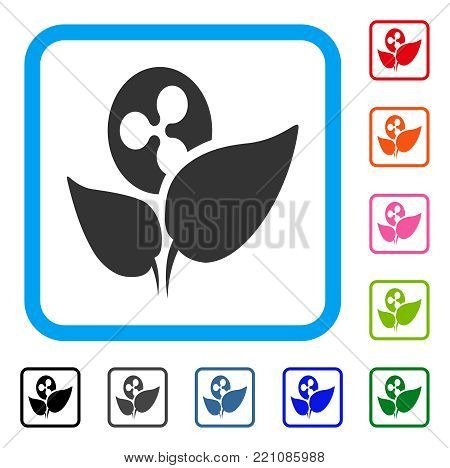 Ripple Startup Sprout icon. Flat gray iconic symbol inside a blue rounded squared frame. Black, gray, green, blue, red, orange color versions of Ripple Startup Sprout vector.