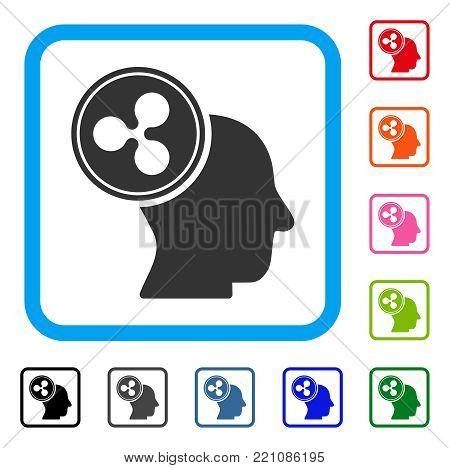 Ripple Thinking Head icon. Flat grey pictogram symbol inside a blue rounded square. Black, gray, green, blue, red, orange color variants of Ripple Thinking Head vector.