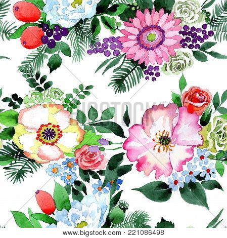Bouquet flower pattern in a watercolor style. Full name of the plant: rose, chrysanthemum, peony. Aquarelle wild flower for background, texture, wrapper pattern, frame or border.