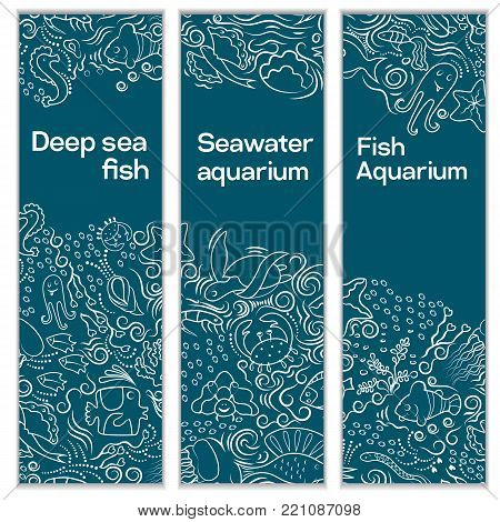 A set of vertical banners. With ornament on a marine theme. The shells, fish, deep-sea animals of the sea and the ocean A beautiful marine aquarium. Artistic lines. Vector illustration.