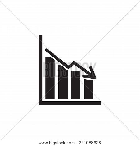 bars descending graph icon on white background
