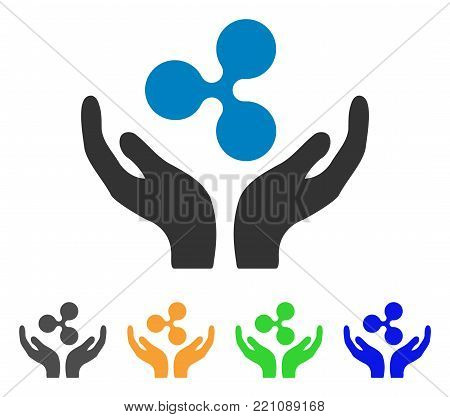 Ripple Maintenance Hands icon. Vector illustration style is a flat iconic ripple maintenance hands symbol with gray, yellow, green, blue color versions. Designed for web and software interfaces.