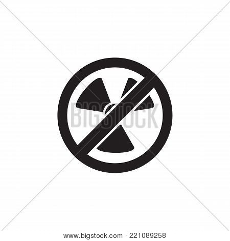 No  atom Radiation icon on white background