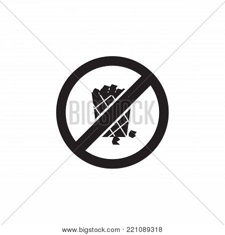 No trash bin, prohibited sign icon on white background