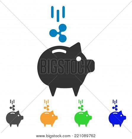 Ripple Piggy Bank icon. Vector illustration style is a flat iconic ripple piggy bank symbol with grey, yellow, green, blue color variants. Designed for web and software interfaces.