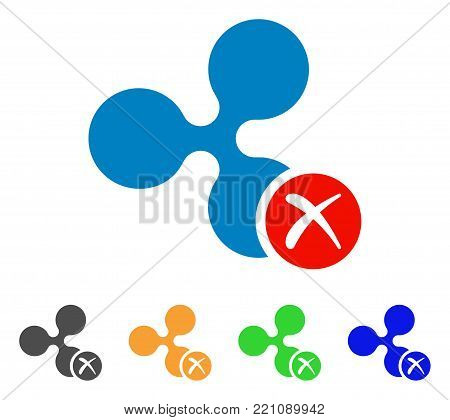 Ripple Reject icon. Vector illustration style is a flat iconic ripple reject symbol with grey, yellow, green, blue color versions. Designed for web and software interfaces.
