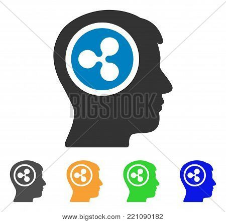 Ripple Think icon. Vector illustration style is a flat iconic ripple think symbol with grey, yellow, green, blue color variants. Designed for web and software interfaces.