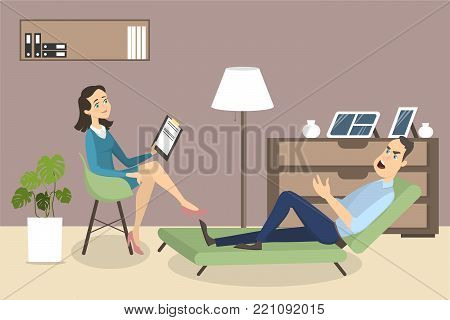 Woman at psychologist. Psychotherapy session with doctor and patient.