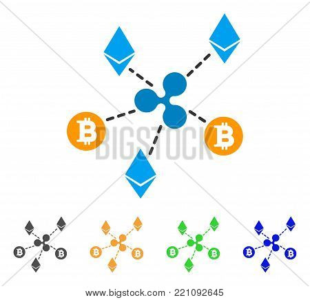 Cryptocurrency Relations icon. Vector illustration style is a flat iconic cryptocurrency relations symbol with grey, yellow, green, blue color variants. Designed for web and software interfaces.
