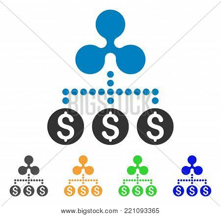 Money Ripple Relations icon. Vector illustration style is a flat iconic money ripple relations symbol with grey, yellow, green, blue color variants. Designed for web and software interfaces.