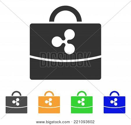 Ripple Accounting Case icon. Vector illustration style is a flat iconic ripple accounting case symbol with gray, yellow, green, blue color versions. Designed for web and software interfaces.