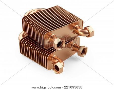 Heat exchangers with tubes for connection of Industrial cooling unit equipment. 3d illustratin on a white bacground