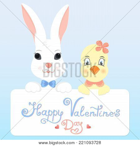 Funny bunny and chicken with a greeting card for Valentine's Day