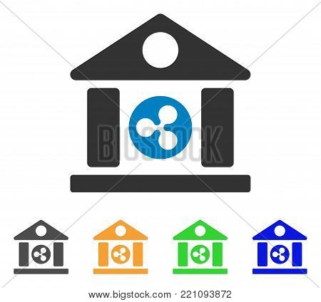 Ripple Bank Building icon. Vector illustration style is a flat iconic ripple bank building symbol with grey, yellow, green, blue color versions. Designed for web and software interfaces.