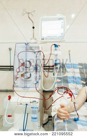 Hemodialysis machines with tubing and installations.