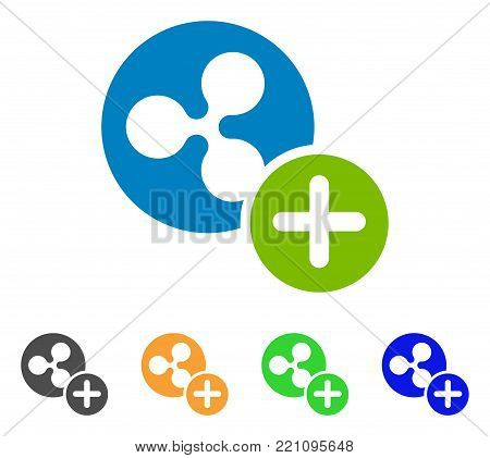 Ripple Coin Add icon. Vector illustration style is a flat iconic ripple coin add symbol with gray, yellow, green, blue color variants. Designed for web and software interfaces.