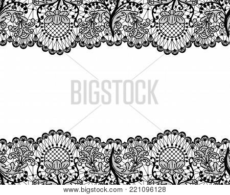 Horizontally seamless white lace background with black lace borders