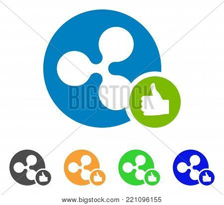 Ripple Coin Thumb Up icon. Vector illustration style is a flat iconic ripple coin thumb up symbol with grey, yellow, green, blue color variants. Designed for web and software interfaces.
