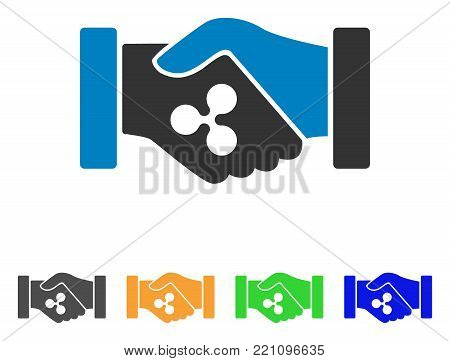 Ripple Contract Hands icon. Vector illustration style is a flat iconic ripple contract hands symbol with gray, yellow, green, blue color variants. Designed for web and software interfaces.