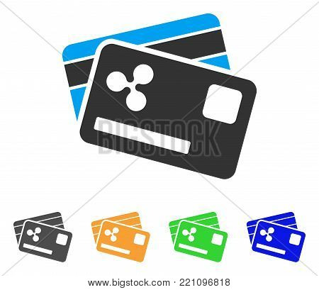 Ripple Credit Cards icon. Vector illustration style is a flat iconic ripple credit cards symbol with gray, yellow, green, blue color versions. Designed for web and software interfaces.