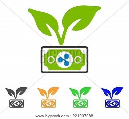 Ripple Eco Startup icon. Vector illustration style is a flat iconic ripple eco startup symbol with gray, yellow, green, blue color variants. Designed for web and software interfaces.