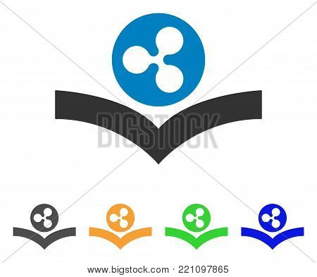 Ripple Knowledge Book icon. Vector illustration style is a flat iconic ripple knowledge book symbol with grey, yellow, green, blue color variants. Designed for web and software interfaces.
