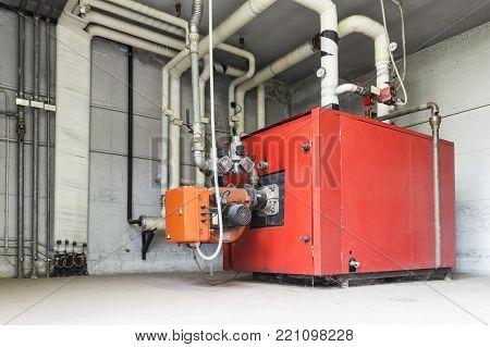 Industrial boiler gas in the boiler room