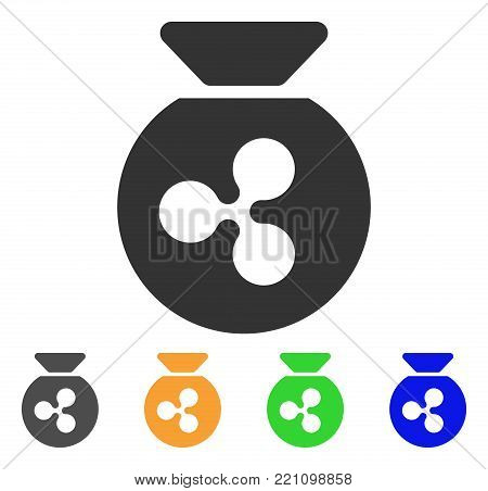 Ripple Money Bag icon. Vector illustration style is a flat iconic ripple money bag symbol with gray, yellow, green, blue color versions. Designed for web and software interfaces.