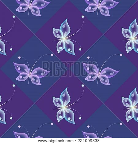 Glowing background with magic  butterflies. Transparent butterfly on dark background.