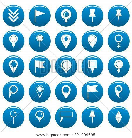 Map pointer icons set blue. Simple illustration of 25 map pointer vector icons for web