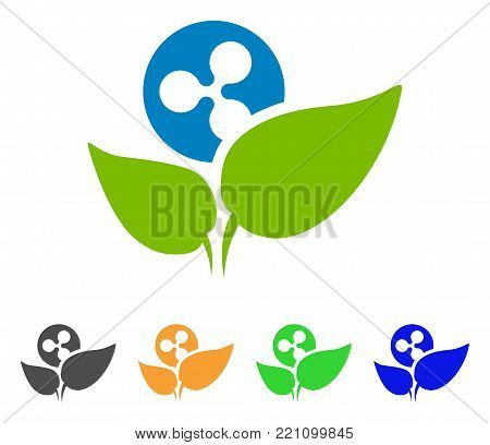 Ripple Startup Sprout icon. Vector illustration style is a flat iconic ripple startup sprout symbol with grey, yellow, green, blue color versions. Designed for web and software interfaces.