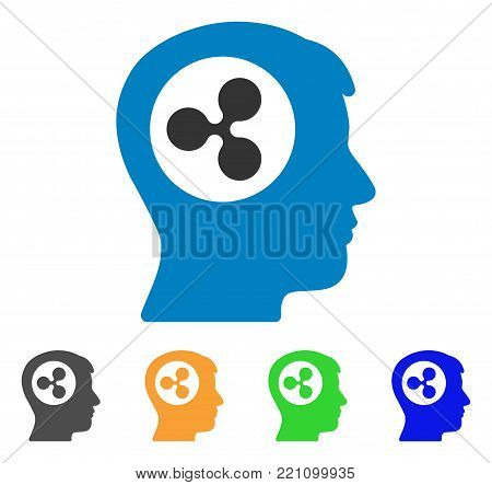 Ripple Think icon. Vector illustration style is a flat iconic ripple think symbol with grey, yellow, green, blue color versions. Designed for web and software interfaces.