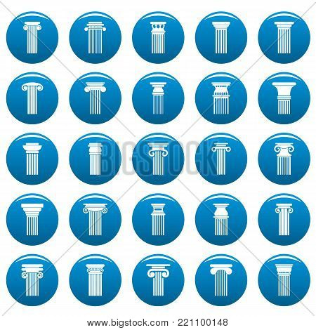 Ancient columns icons set blue. Simple illustration of 25 ancient columns vector icons for web