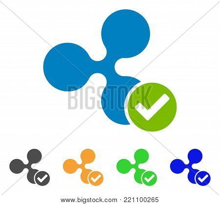 Ripple Valid icon. Vector illustration style is a flat iconic ripple valid symbol with gray, yellow, green, blue color versions. Designed for web and software interfaces. poster