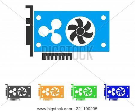 Ripple Video Gpu Card icon. Vector illustration style is a flat iconic ripple video gpu card symbol with gray, yellow, green, blue color versions. Designed for web and software interfaces.