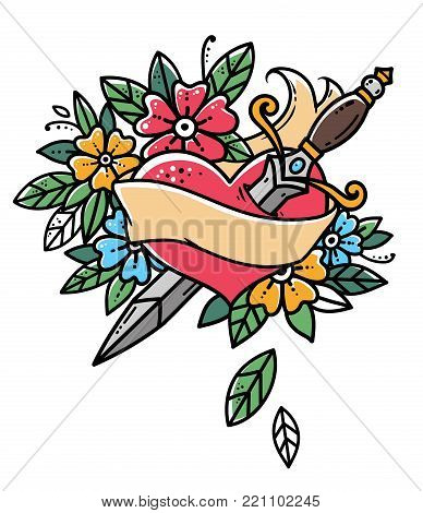 Heart with dagger, ribbon and flowers. Retro tattoo. Old school retro vector illustration.