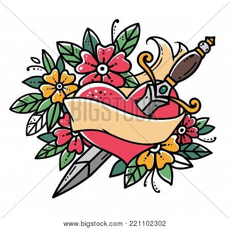 Heart pierced with dagger. Retro tattoo. Heart with ribbon and flowers. Old school retro vector illustration. Retro tattoo.