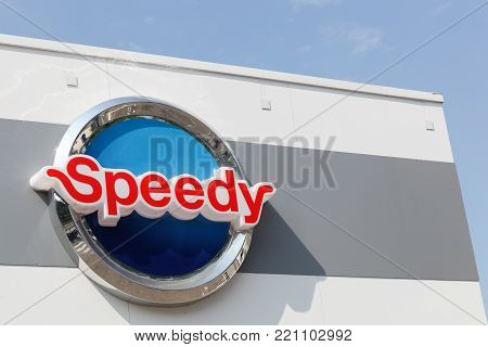 Grenoble, France - June 24, 2017: Speedy logo on a wall. Speedy is a French car maintenance and repair company
