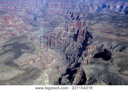 The mighty rock canyons of the Grand Canyon in Arizona