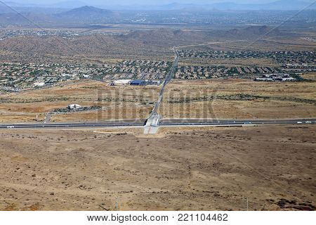 Looking down on Interstate Seventeen in Phoenix Arizona